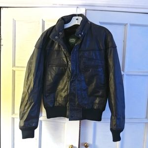 Mens Hill & Archer brown leather bomber jacket M